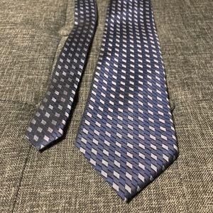 Calvin Klein geometric silk neck tie dark blue